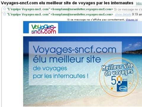 La bonne blague de la SNCF : Elu meilleur site de l'année. AHAHAH