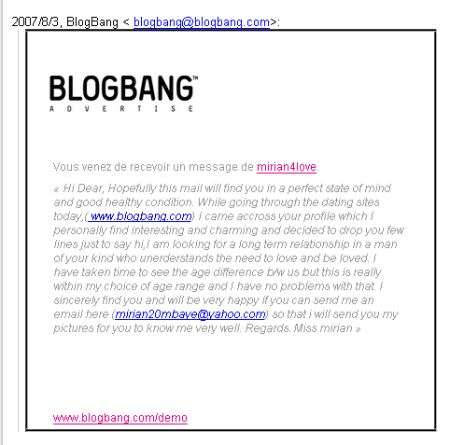 Miriam4love : le spam BlogBang