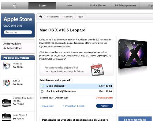 Leopard est sur l'Apple Store