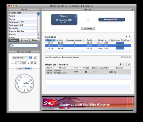Logiciel : Horaires SNCF pour Mac OS