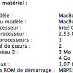 Configuration du Macbook Pro V5.5 de Gonzague