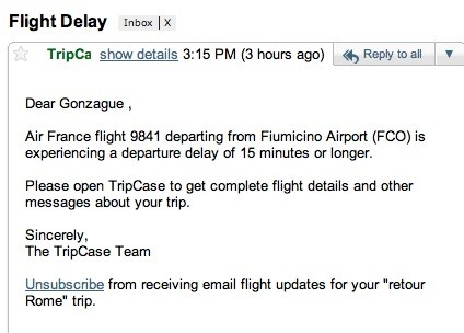 email alerte tripcase