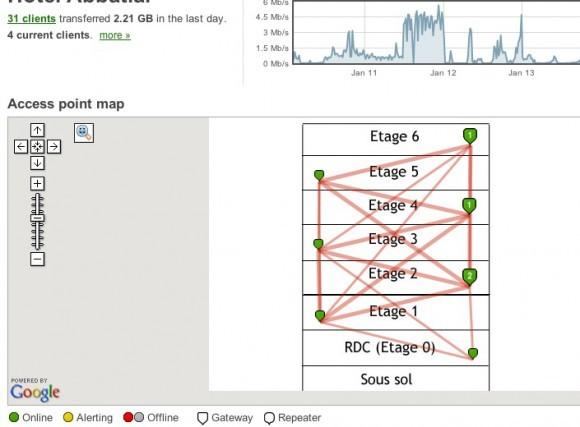 Tableau de bord Meraki Cloud Controller avec une carte personnalisée