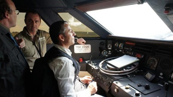 Dans la cabine d'un TGV