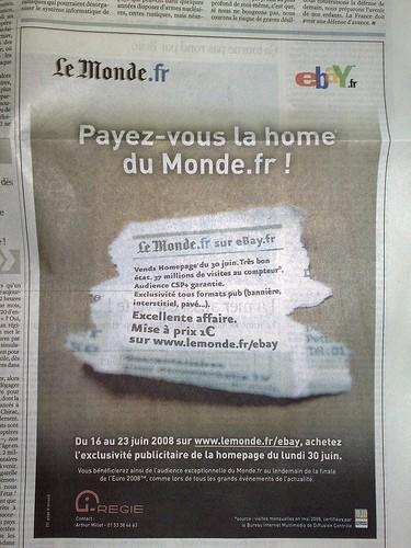 eBay met le Monde en vente