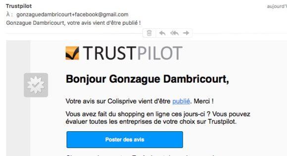 Avis publie - mail trustpilot