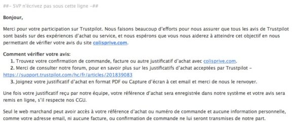 TrustPilot - Mail de suppression de mon avis